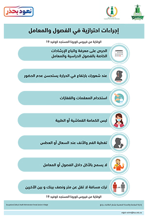 إجراءات احترازية في الفصول والمعامل